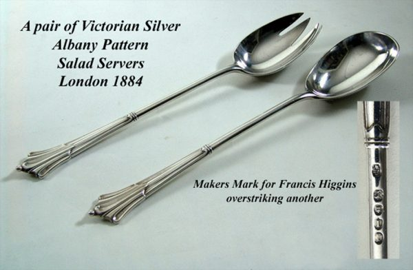 Flatware Pair of Antique Silver Albany Pattern Salad Servers