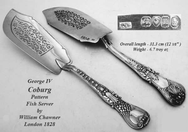 Antique silver George IV Coburg pattern fish slice