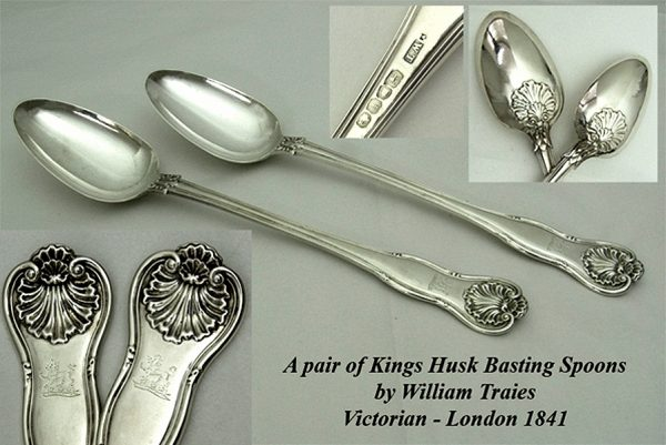 Flatware Antique Silver pair Kings Husk Basting Spoons