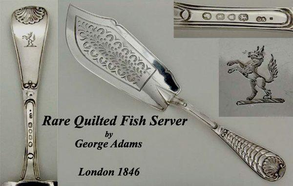 Antique silver fine Victorian Quilt Pattern fish slice