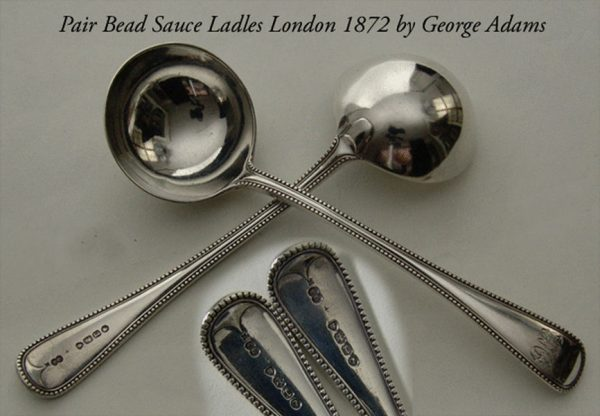 Flatware Antique Silver pair Victorian Bead Pattern Sauce ladles