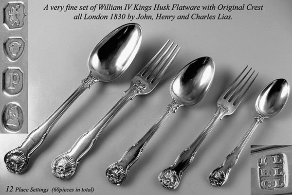 Flatware Antique Silver William IV Kings Husk Canteen