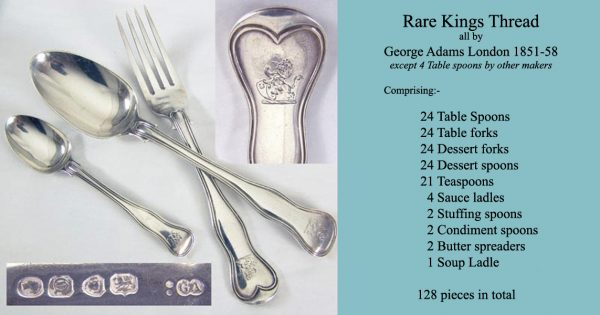 Flatware Antique Silver Kings Thread Canteen for 24