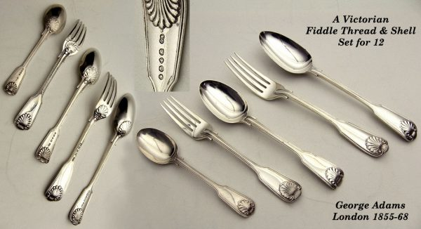 Antique silver Victorian Fiddle Thread and Shell Flatware