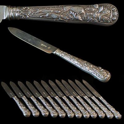 1 Dozen (12) superb Stag Hunt pattern Antique English Sterling Silver Fruit knives