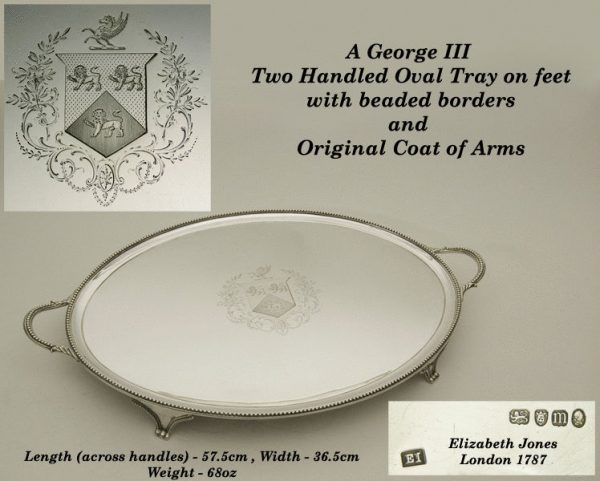 Antique silver George III tray