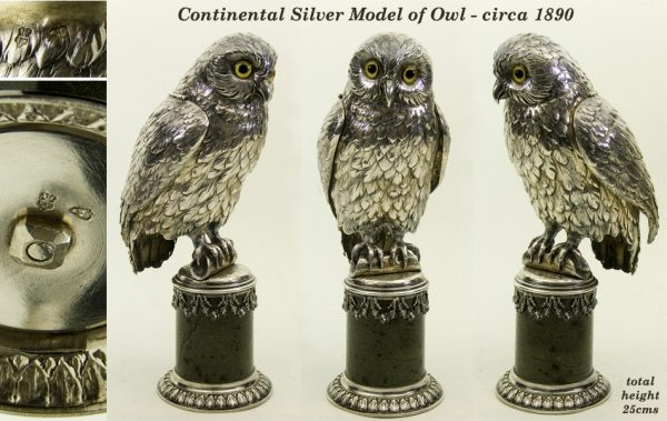 Antique silver Continental model owl