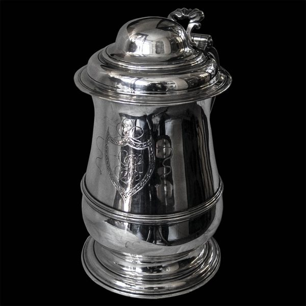 Antique English Sterling Silver Lidded Tankard