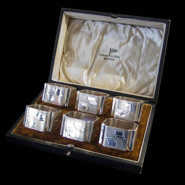 Set of 6 Art Deco Silver Napkin Rings in Original Case