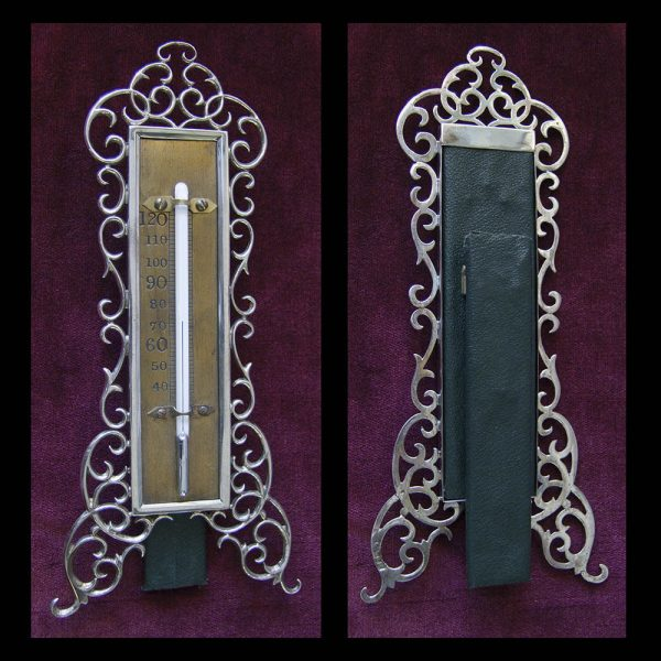Decorative Silver Mounted Standing Thermometer