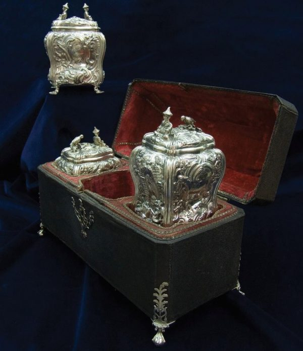Antique Silver  Tea Caddy Set