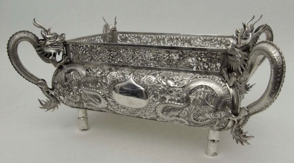 Antique silver Chinese jardiniere