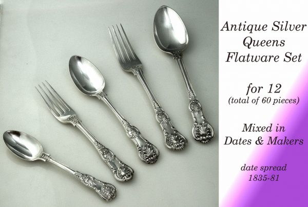 Flatware Antique Silver Queens Canteen