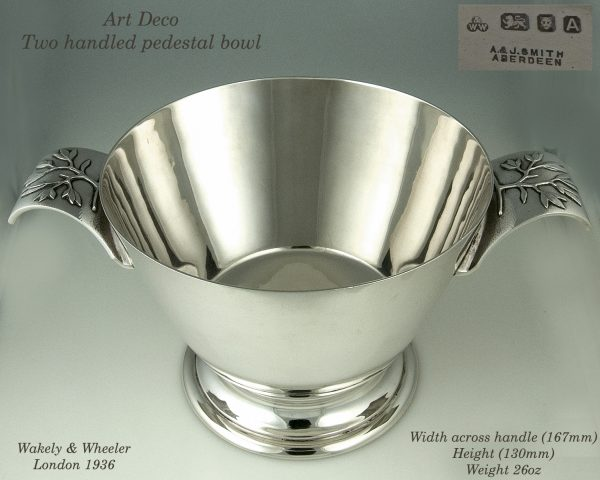 Art Deco silver two handled bowl