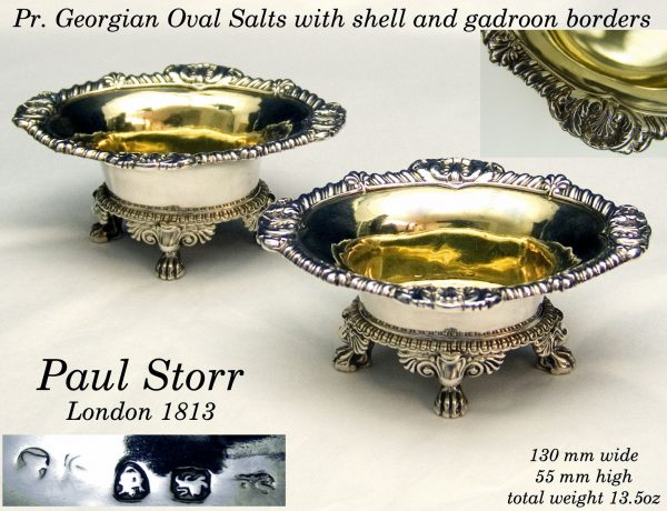 Antique Silver Georgian Salt Cellars by Paul Storr