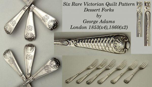 Antique Silver Quilt Dessert Forks