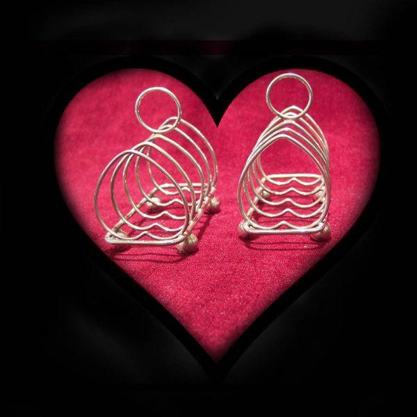 Pair heart-shape silver toast racks