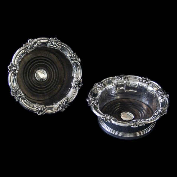 Pair of Antique Victorian Silver Wine Coasters