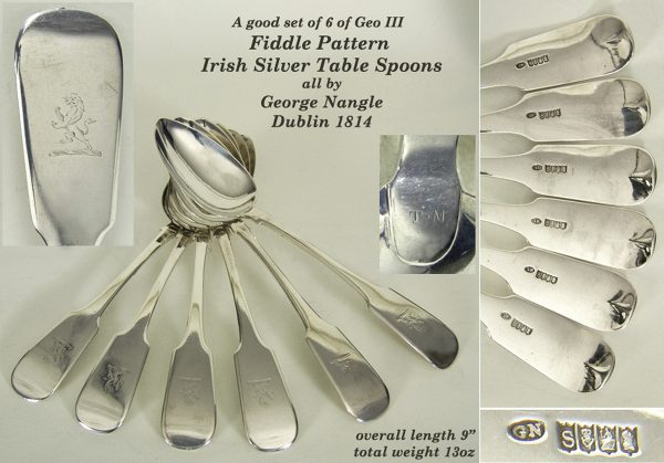 Antique Silver  Irish Table Spoons