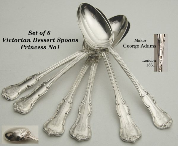 Antique Silver Princess No1 dessert spoons