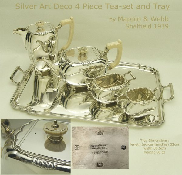 Antique Silver Art Deco silver teaset and tray
