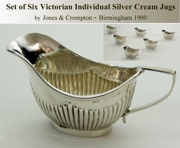 Antique Silver Set of Six Individual Cream Jugs