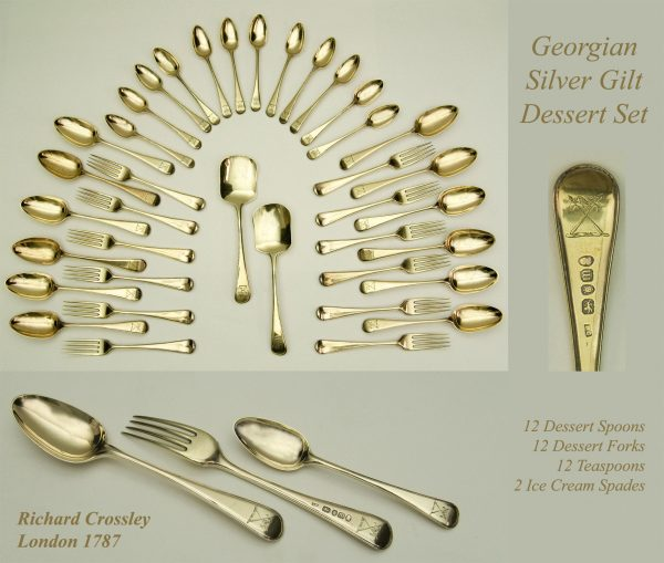 Antique silver gilt dessert service