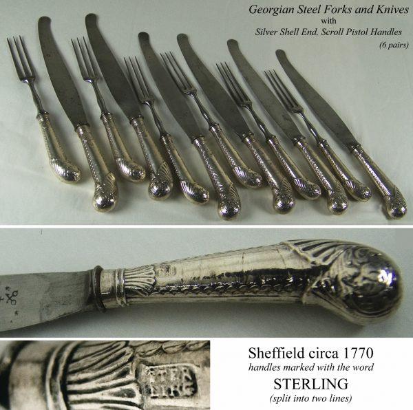 Antique silver pistol handled knives and forks
