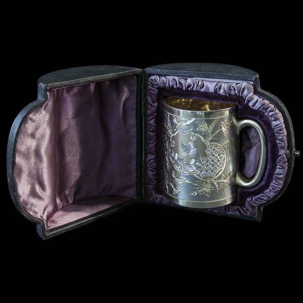 A Fine Victorian Aesthetic Movement Silver Gilt Mug in Original Case