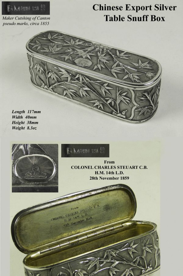 Antique  Silver Chinese Export Table Snuff Box by Cutshing of Canton
