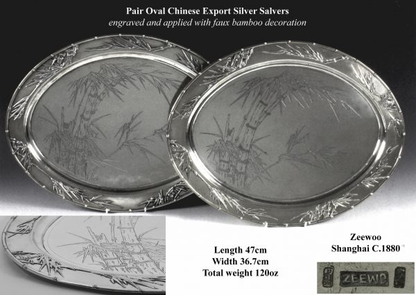 Antique Silver Chinese Export Salvers
