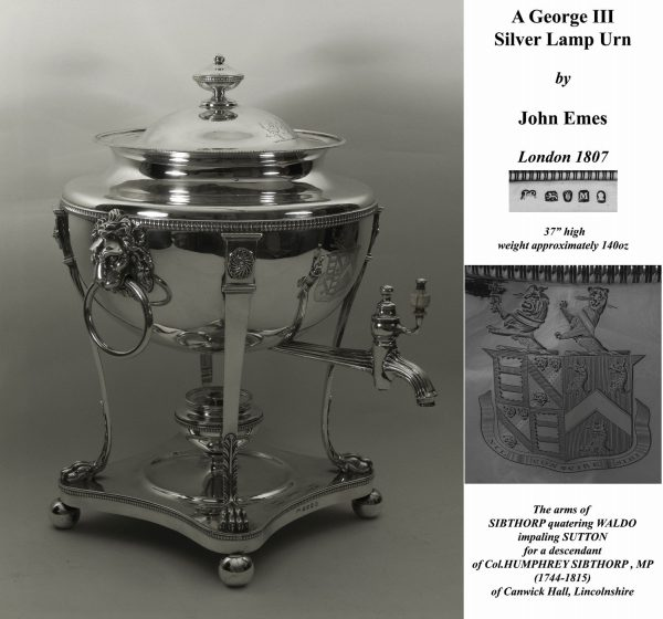 Antique Silver Lamp Urn