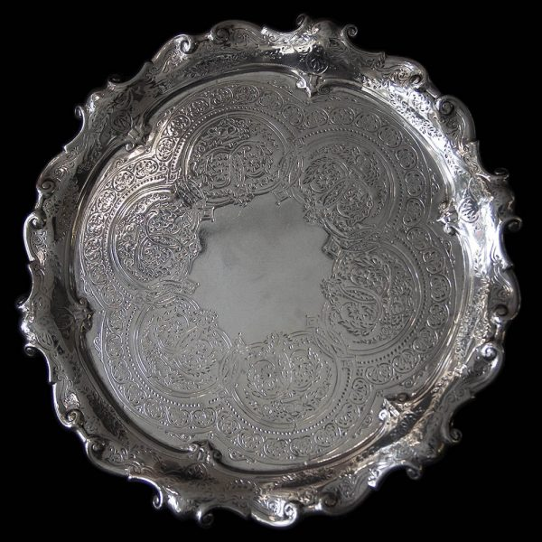 Antique English Victorian Silver Card Tray