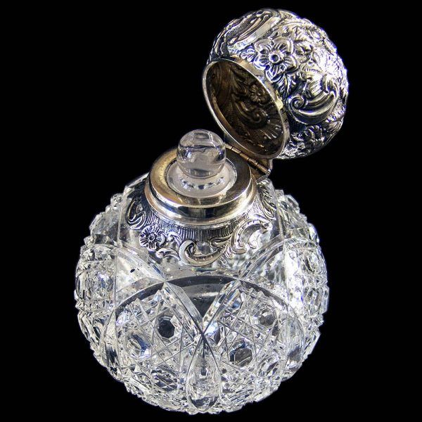 Antique English Victorian Silver Topped Scent Bottle