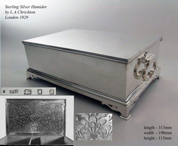 A rare London silver cigar humidor