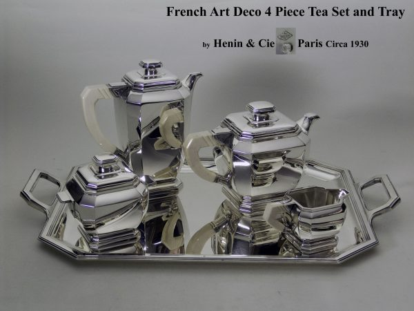 Art Deco Silver Four Piece Tea Set and Tray