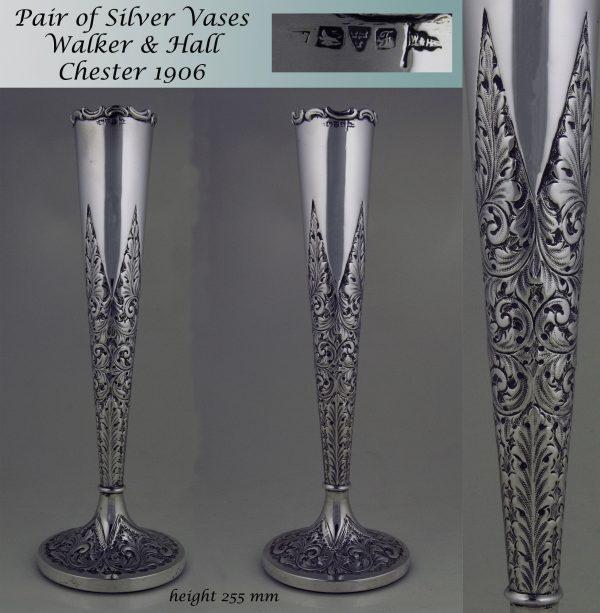 Pair of Antique Silver Vases