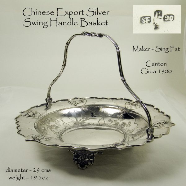 Antique Silver Chinese Export Basket