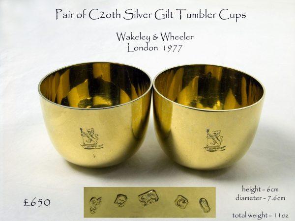 Pair Silver Gilt Tumbler Cups