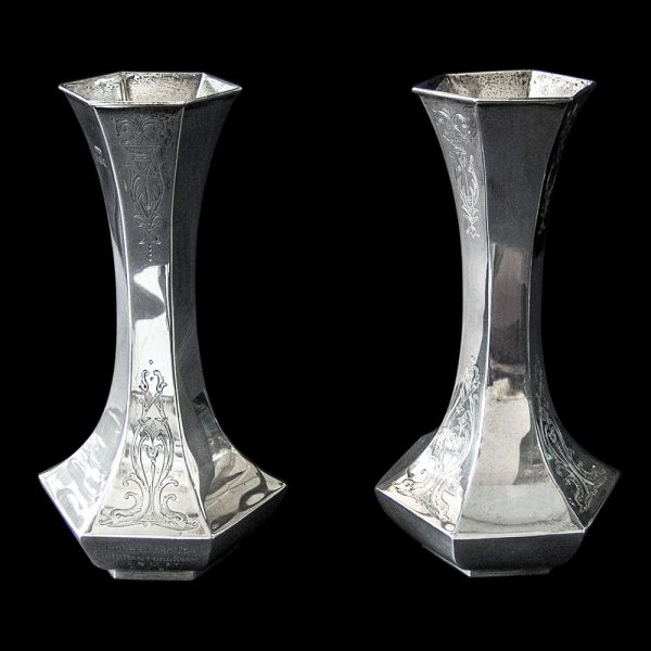 Pair of Edwardian Antique Silver Vases