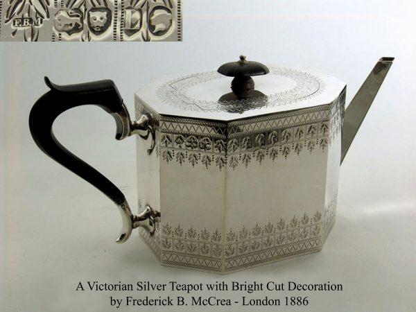 Antique Silver Victorian Bright-Cut Teapot