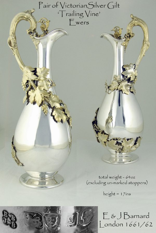 Antique Silver Gilt Ewers