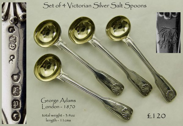 Antique silver salt spoons