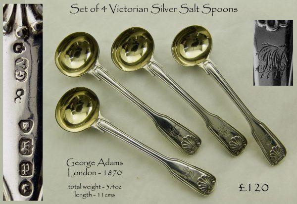 Antique silver salt spoons
