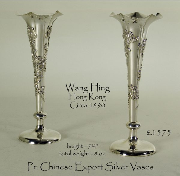 Antique Silver Chinese Export Vases