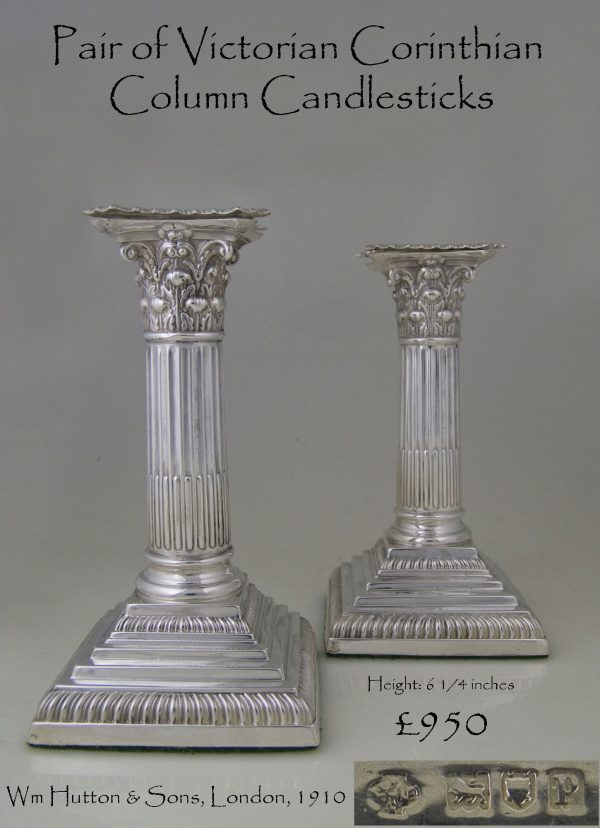 Pair of Victorian Corinthian Column Candlesticks