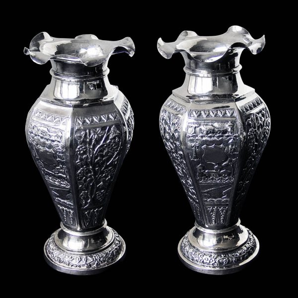 Pair of Indian Silver Vases
