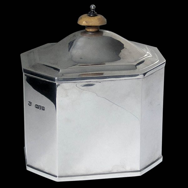 Antique Sterling Silver Tea Caddy by Nathan & Hayes