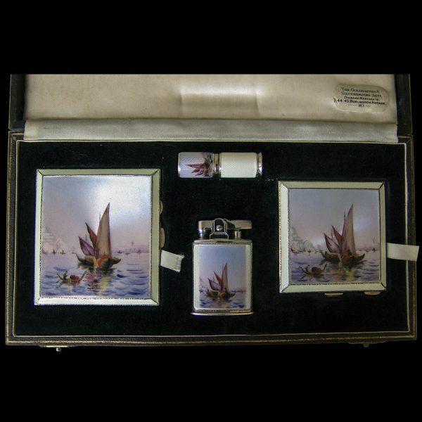 Ladies Silver and Enamel 4 Piece Handbag Set
