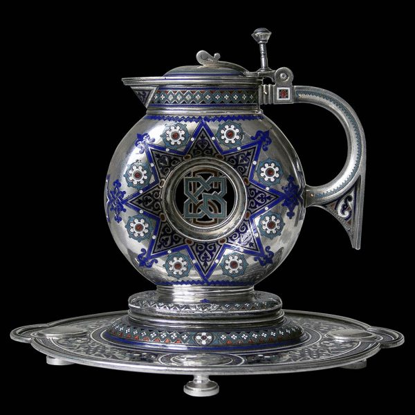 Russian Antique Silver & Enamel Jug on Stand